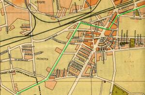 Plan Warszawy z ok. 1947 r.  z zaznaczoną trasą kolejki EKD. Wydawca: Pfeiffer i Mrozowski.